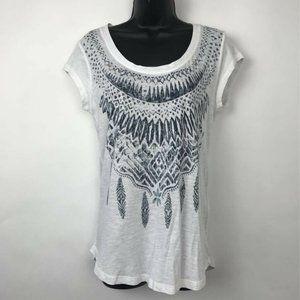 Lucky Brand T-Shirt White Aztec Short Sleeve Sz S